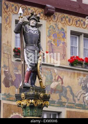 Medieval statue in Stein am Rhein, Switzerland - Stock Photo