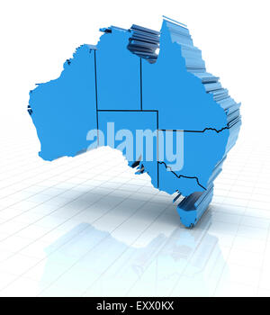 Extruded Australia map with state borders - Stock Photo