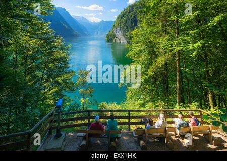 View over Koenigssee, Berchtesgaden Alps, Bavaria, Germany, Europe - Stock Photo