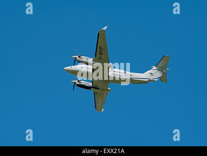 A Beechcraft 200 Super King Aircraft Operated by Capital Aviation Departing Inverness Airport, Scotland.  SCO 9968. - Stock Photo