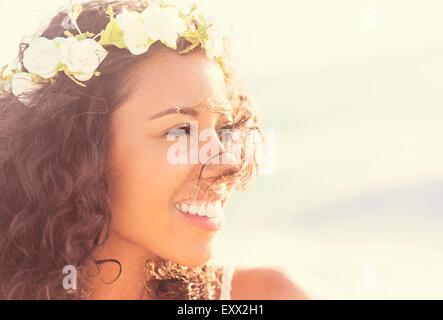 Young woman wearing wreath - Stock Photo