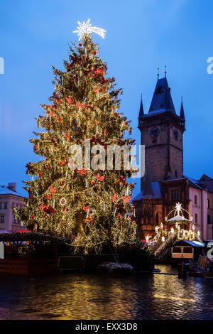 Christmas tree at night - Stock Photo