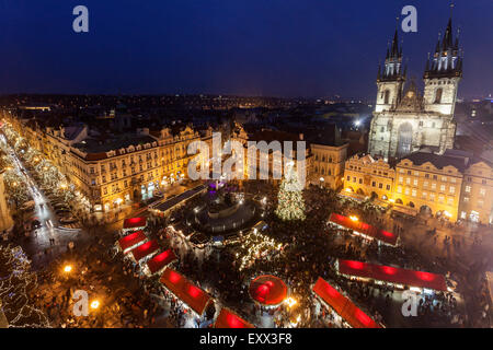 Town square at night - Stock Photo