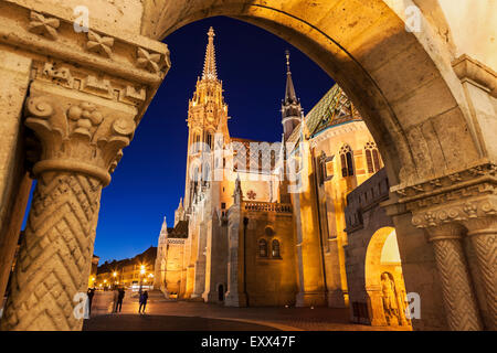 Matthias Church seen through arch of Fisherman's Bastion - Stock Photo