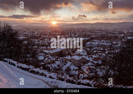 Winter cityscape at sunrise - Stock Photo