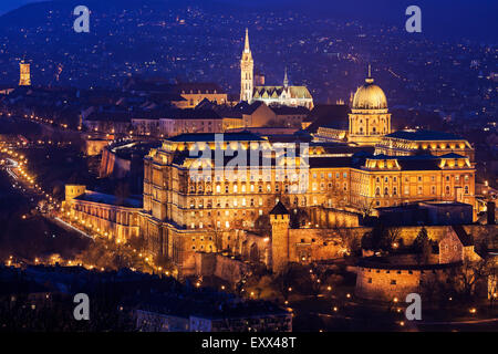 Cityscape with illuminated Royal Palace and Matthias Church - Stock Photo