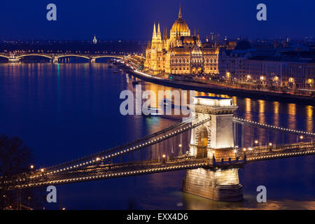 Chain Bridge and Hungarian Parliament - Stock Photo