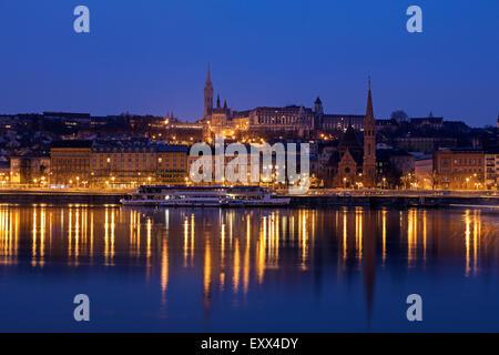 Buda skyline with Matthias Church and Fisherman's Bastion - Stock Photo