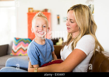 Mother with smiling son (4-5) - Stock Photo