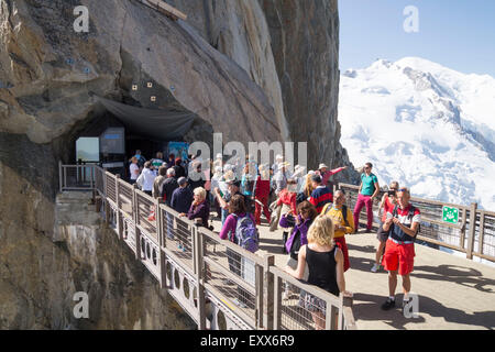 Aiguille du Midi - 3,842 m ,mountain in the Mont Blanc massif , French Alps. - Stock Photo