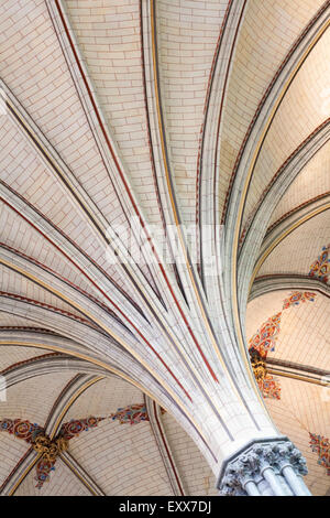 Ceiling detail in Chapter House, Salisbury Cathedral, Salisbury, Wilshire, UK in March - Stock Photo