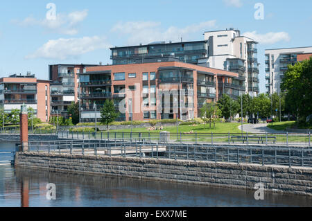 Apartment buildings built on the old Finlayson cotton mill in Tampere Finland - Stock Photo