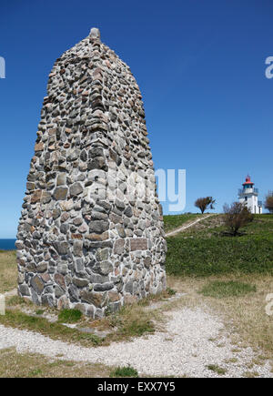 Memorial rock cairn and Spodsbjerg Lighthouse at Danish polar explorer Knud Rasmussen's home, now museum  at Hundested. - Stock Photo