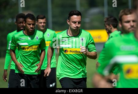 Rottach-Egern, Germany. 17th July, 2015. Gladbach's Josip Drmic (4-L) in action in a training camp of German Bundesliga - Stock Photo