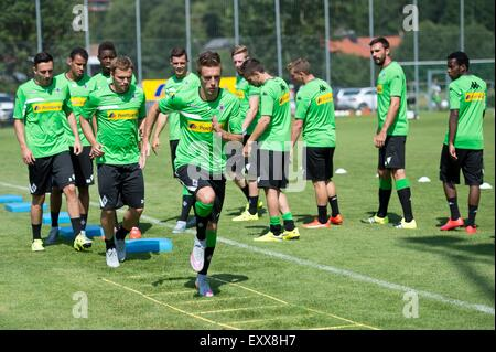 Rottach-Egern, Germany. 17th July, 2015. Gladbach's Josip Drmic, Tony Jantschke and Patrick Herrmann (L-R) in action - Stock Photo