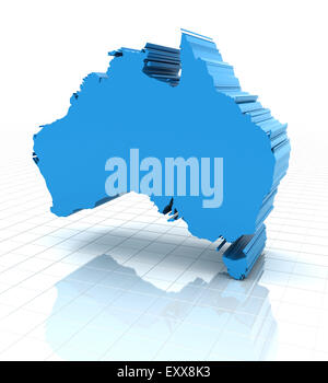 Extruded Australia map - Stock Photo