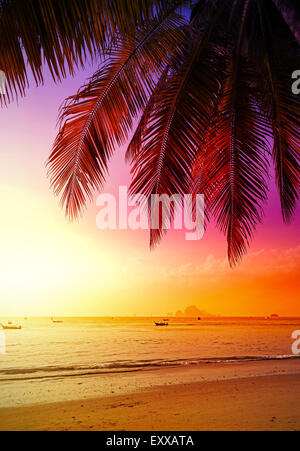 Beautiful sunset over beach, summer holidays background. - Stock Photo