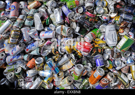 Moab, UT, USA - June 4, 2015: Empty beverage cans in a roadside container, collected for recycling. - Stock Photo