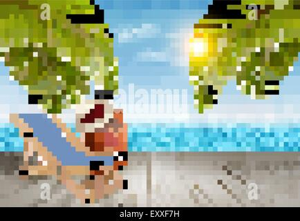 Vacation background. Beach with palm trees and blue sea. Vector. - Stock Photo