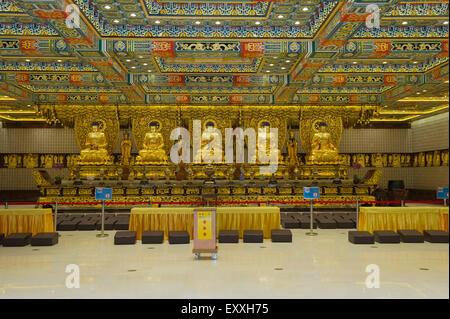 Grand Hall Of Ten Thousand Buddhas interior, Po Lin Monastery, Lantau Island Hong Kong, China - Stock Photo