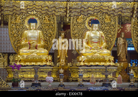 Grand Hall Of Ten Thousand Buddhas interior, Po Lin Monastery, Lantau Island Hong Kong, China - Stock Photo