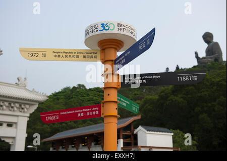 Directional sign Ngong Ping, Lantau Island. - Stock Photo