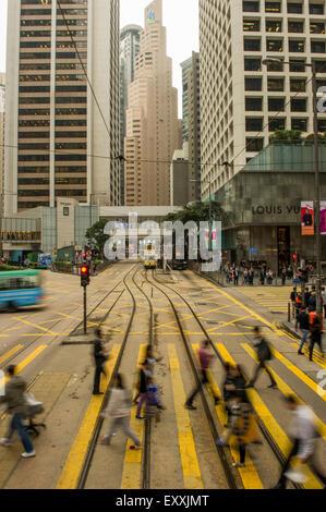 Hong Kong city street scene intersection, China - Stock Photo