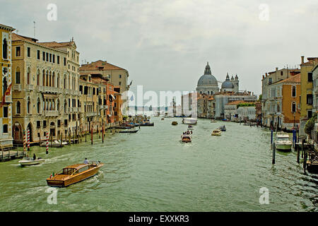 View of Santa Maria della Salute and the Grand canal Venice, taken from the Academia bridge. - Stock Photo