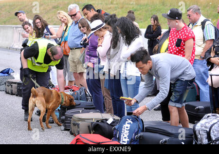 Checking and screening focused on the illegal movement of migrants at the car park of the 139th kilometer of motorway - Stock Photo