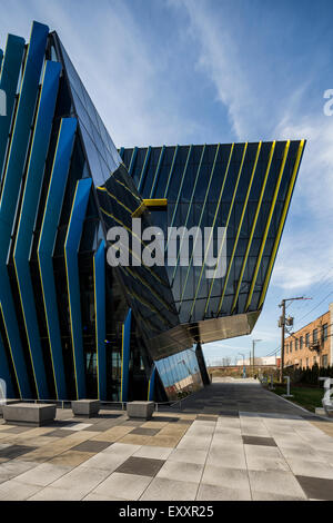 detail of exterior, El Centro urban campus,  Northeastern Illinois University, Avondale, Chicago, Illinois, USA - Stock Photo