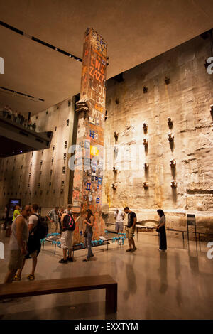 NEW YORK - May 30, 2015: The National 911 Museum in New York city.  Main hall of the museum, showing the last column - Stock Photo
