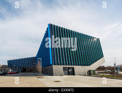 exterior, El Centro urban campus,  Northeastern Illinois University, Avondale, Chicago, Illinois, USA - Stock Photo