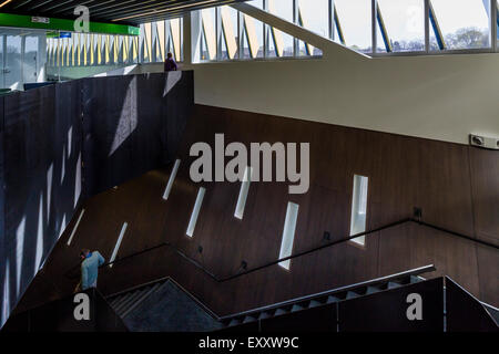 staircase and corridor, El Centro urban campus,  Northeastern Illinois University, Avondale, Chicago, Illinois, - Stock Photo
