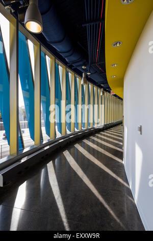 corridor, El Centro urban campus,  Northeastern Illinois University, Avondale, Chicago, Illinois, USA - Stock Photo