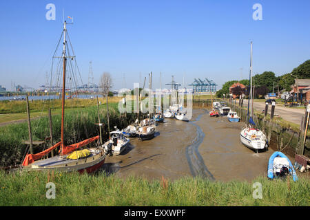 Low tide at the marina of Lillo in the Port of Antwerp, Belgium - Stock Photo