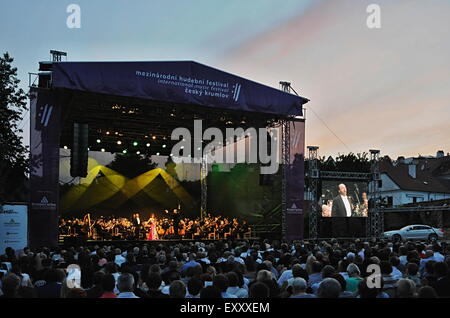 Cesky Krumlov, Czech Republic. 17th July, 2015. South Korean soprano Sumi Jo accompanied by the Prague Radio Symphony - Stock Photo