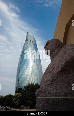 View of the Flame towers skyscraper and bust of Soviet general Azi Aslanov who lead tank units during many important - Stock Photo