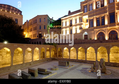 An old courtyard with lapidarium in Icheri Sheher which is the historical core of Baku listed in UNESCO World Heritage - Stock Photo