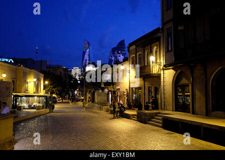 Street scene in Icheri Sheher which is the historical core of Baku listed in UNESCO World Heritage Site list in - Stock Photo