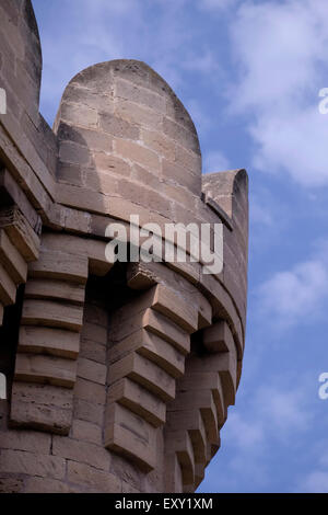 View of the old 14th century quadrangular tower which is part of  chain of towers and other fortresses over the - Stock Photo