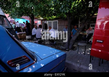 Market scene in the town of Sheki Azerbaijan - Stock Photo