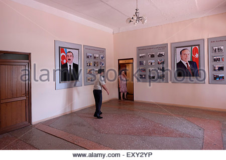 Photographs of the former president Heydar Aliyev and his son Ilham Aliyev, actual president of Azerbaijan at the - Stock Photo