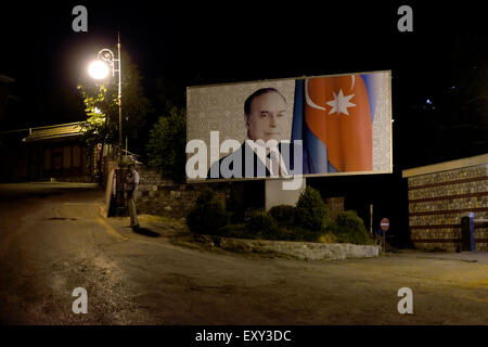 A poster featuring the former president Heydar Aliyev ( father of Ilham Aliyev, actual president of Azerbaijan ) - Stock Photo
