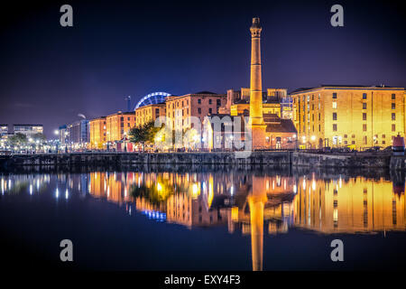 Liverpool United Kingdom waterfront skyline at night - Stock Photo