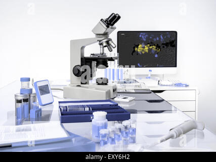 Microscopic work station, scientific background in lilac and white hues - Stock Photo