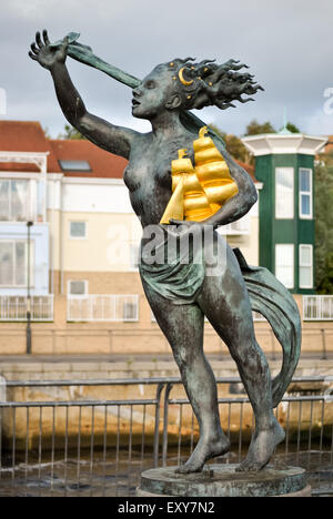 Full Length Photograph of The ' Spirit of South Shields ' Bronze Sculpture by Irene Brown, at South Shields Riverside - Stock Photo