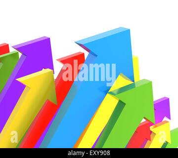 Groups of upward arrows, 3d render - Stock Photo