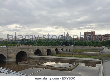 Segovia bridge over the river Manzanares in the city of Madrid. Spain - Stock Photo