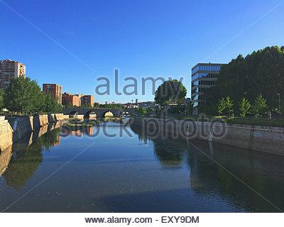 Segovia bridge over river Manzanares in the city of Madrid, Spain - Stock Photo