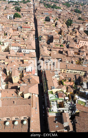 Aerial view of central Bologna. - Stock Photo